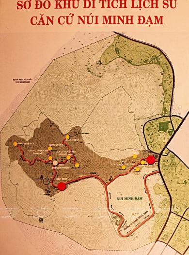 Bản đồ khu di tích lịch sử căn cứ núi Minh Đạm