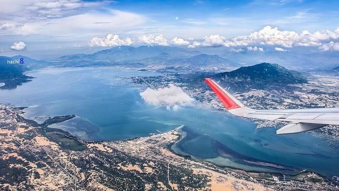 Cảnh đẹp Lý Sơn nhìn qua cửa máy bay (nguồn sưu tầm)