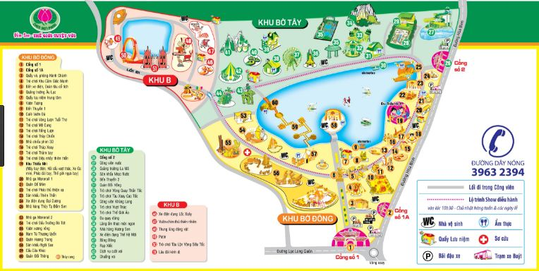 Sơ đồ công viên nước Đầm Sen - Ảnh: Sưu tầm
