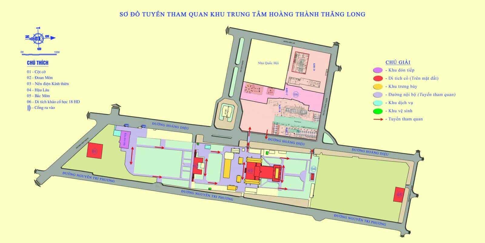 sơ đồ tuyến tham quan Hoàng Thành Thăng Long