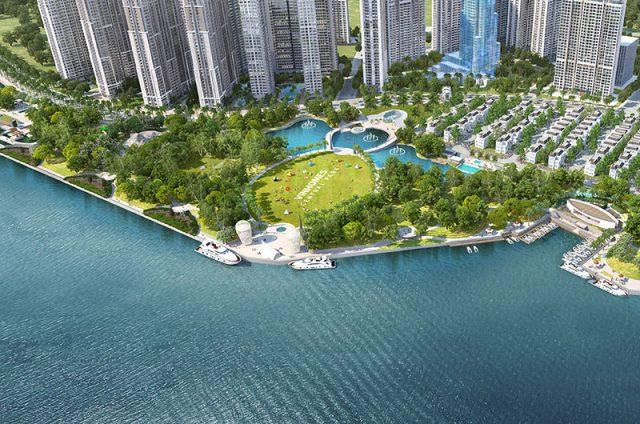 Không gian xanh của công viên Vinhomes Central Park bên thành phố