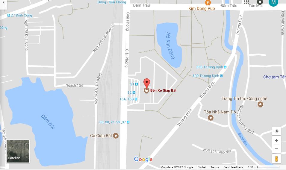 Bản đồ bến xe Giáp Bát