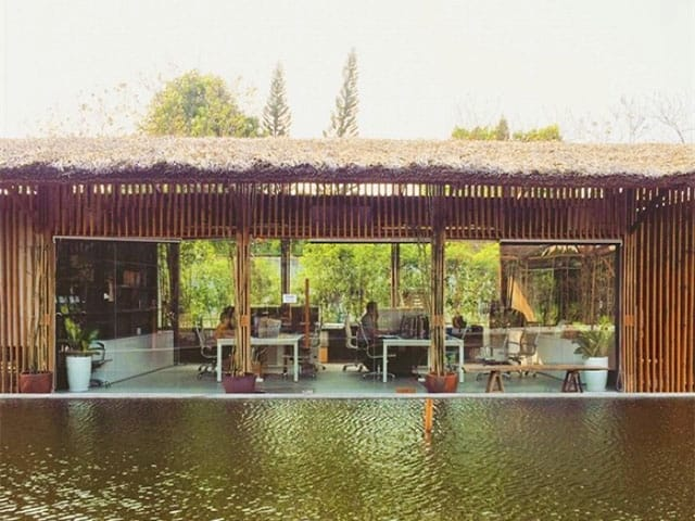 Quang cảnh nhìn từ nhà mát ra ao cá của khu vui chơi Thảo Điền