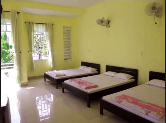 Phòng nghỉ được trang trí đơn giản nhưng sạch sẽ và thoán mát