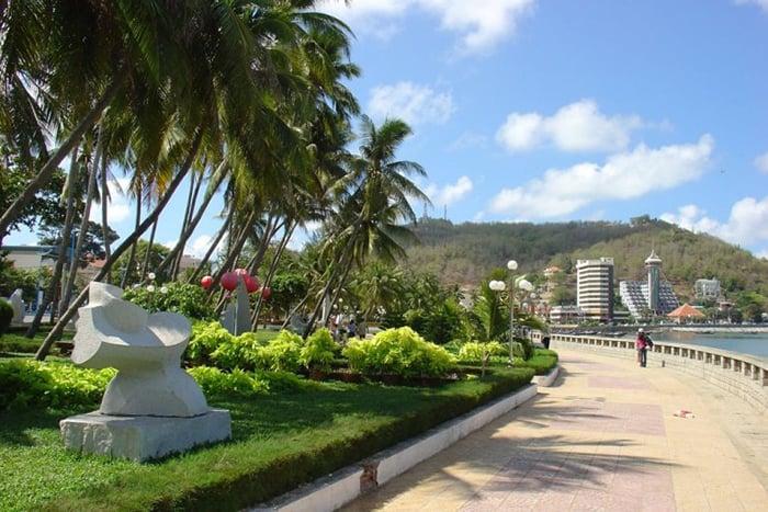 Khu vực công viên với hàng dừa xanh mát, rất thích hợp cho việc đi dạo, tản bộ
