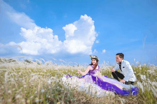 Ảnh cưới đẹp trên cánh đồng cỏ lau