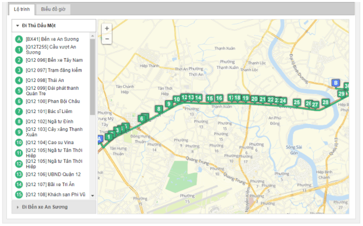 Bản đồ đường đi tuyến xe buýt số 61-3