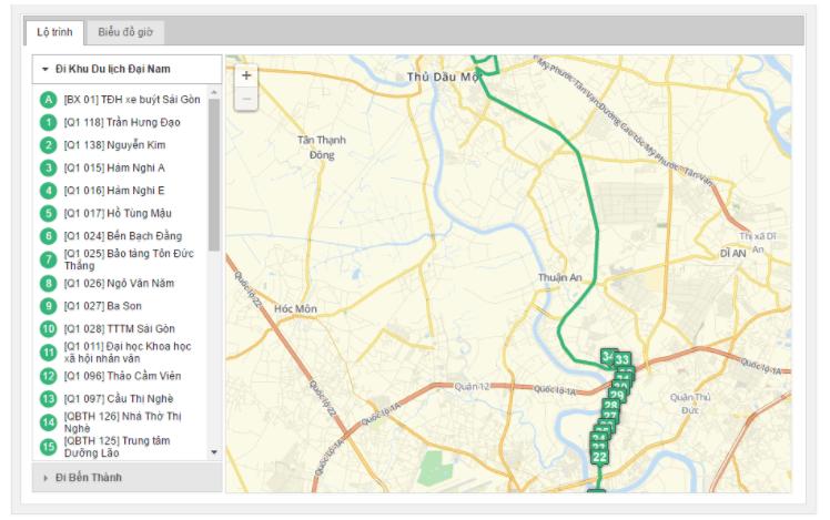 Bản đồ đường đi tuyến xe buýt số 61-6