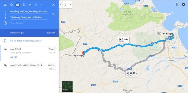 Đường di chuyển đến Tây Giang