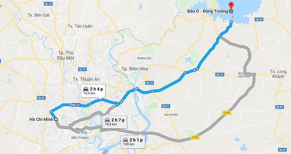 Bản đồ đường đi tới đảo Ó - Đông Trường