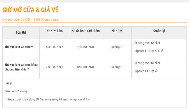 Bảng giá vé tham quan Vinpearl Land Nha Trang