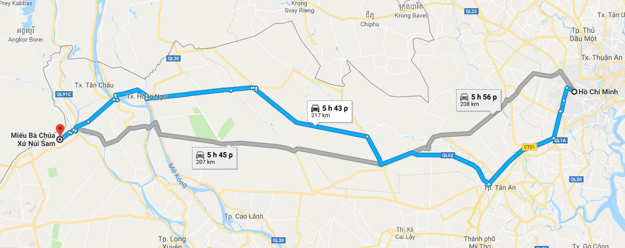 Bản đồ đường đi tới chùa Bà Châu Đốc An Giang