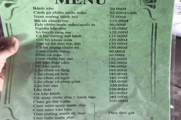 Menu món ăn tại khu du lịch Lan Vương - Bến Tre
